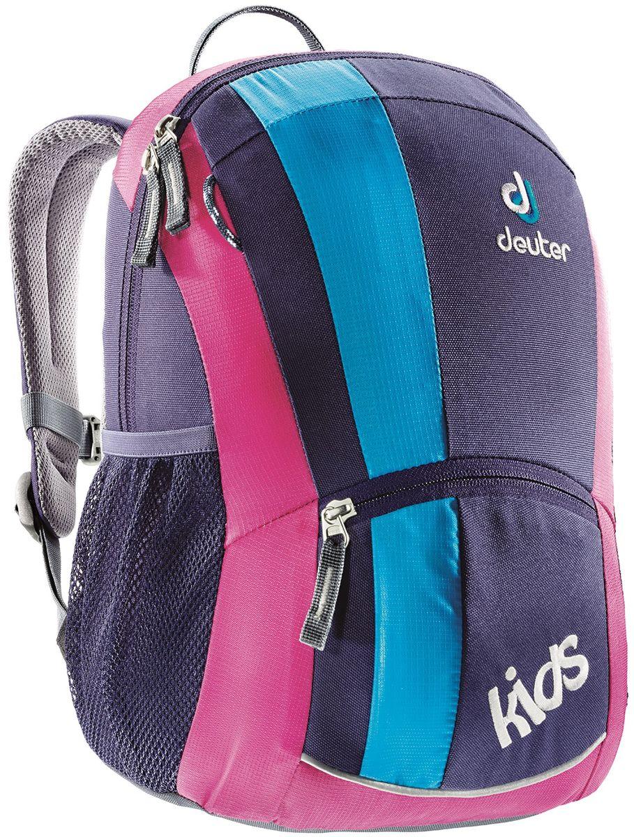 Рюкзак городской Deuter Kids, цвет: фиолетовый, 12 л36013_5013Детский рюкзак для детей от 3 лет мягкая спинка Sобразные плечевые лямки с мягкими краями боковые сетчатые карманы именная бирка внутри отражатель 3M спереди и на переднем кармане с молнией для безопасности потайной карманчик на молнии сверху петли для пристежки разных мелочей Материал: SuperPolytex Вес: 300 g Объем: 12 l Размеры: 36 x 22 x 18 см.