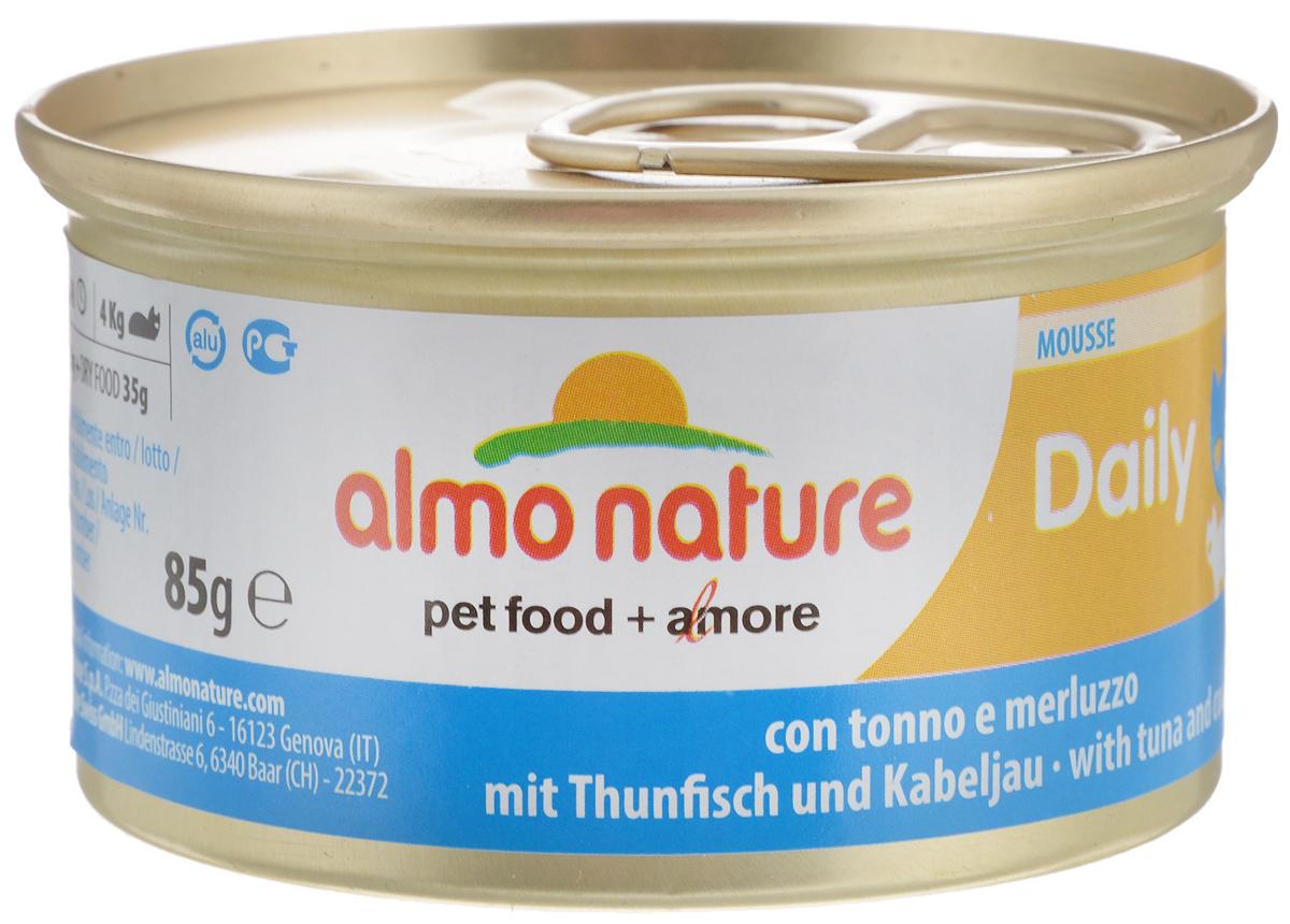 Консервы для кошек Almo Nature Daily Menu, с тунцом и треской, 85 г20350Almo Nature Daily Menu - нежное мясо, превращенное в деликатный мусс с использованием ингредиентов высочайшего качества. Любая привереда замурлыкает от удовольствия, если у нее в миске окажется такой деликатес. Особый метод приготовления консервированного корма Almo Nature Daily Menu сохраняет привлекательный аромат и свежесть продукта, ведь мясо приготавливается в собственном бульоне и только затем превращается в мусс. Минералы, также присутствующие в составе, особенно медь, участвуют в формировании костной и тканевой системе, выполняют функции антиоксиданта. Состав: мясо и его производные, рыба и ее производные (тунец 4%, треска 4%), минералы, экстракт растительного белка. Пищевая ценность: белки 9,5%, клетчатка 0,4%, масла и жиры 6%, зола 2%, влажность 81%. Калорийность: 881ккал/кг. Товар сертифицирован.