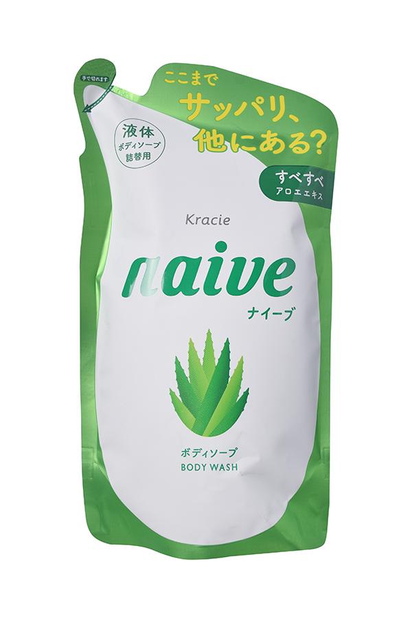 """Kracie 16962kr """"Naive"""" Мыло жидкое для тела с экстрактом алоэ (сменная упаковка), 380 мл"""