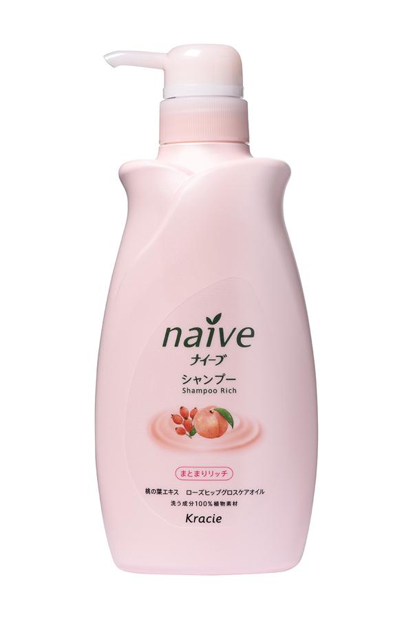 "Kracie 71581 ""Naive"" Шампунь для сухих волос восстанавливающий ""Naive - экстракт персика и масло, 550 мл"