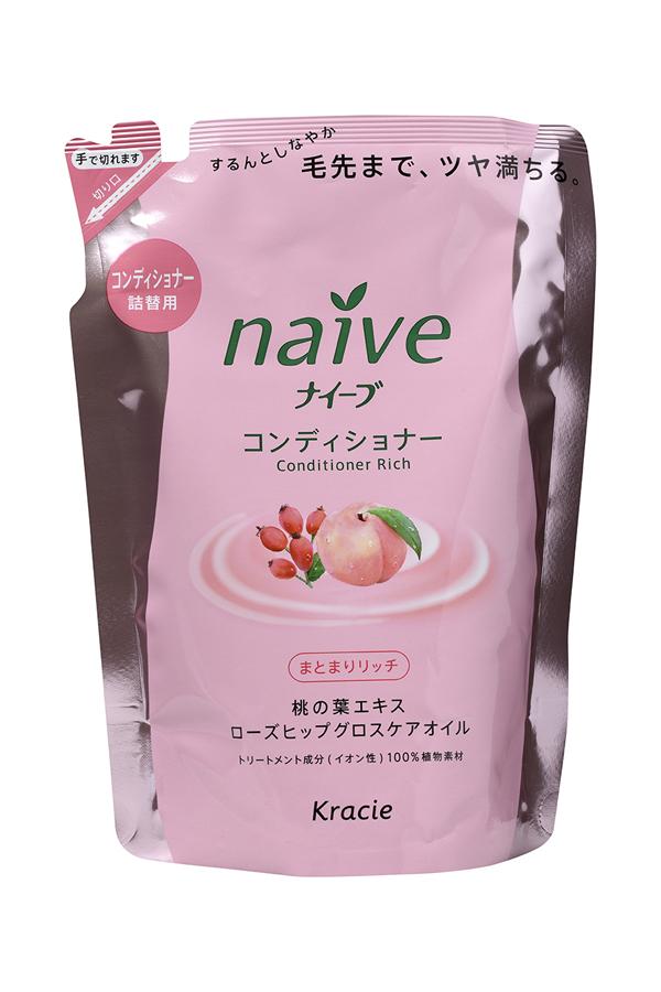 Kracie 71611 Naive Бальзам-ополаскиват. для сух. волос восст. «Naive - экстракт персика (смен.упаковка), 400 мл71611krМягкий бальзам-ополаскиватель обеспечивает волосы необходимыми питательными и увлажняющими веществами. Активные компоненты 100% растительного происхождения восстанавливают структуру волос, делая их шелковистыми и послушными. • Гликозилтрегалоза (увлажняющее вещество аминокислотной группы) в сочетании с растительными экстрактами глубоко увлажняет волосы, предотвращая ломкость и секущиеся кончики. • Экстракт из листьев и мякоти плодов персикового дерева питает волосы, защищает от пересушивания, увлажняет и смягчает кожу головы. • Масло шиповника делает волосы блестящими и гладкими