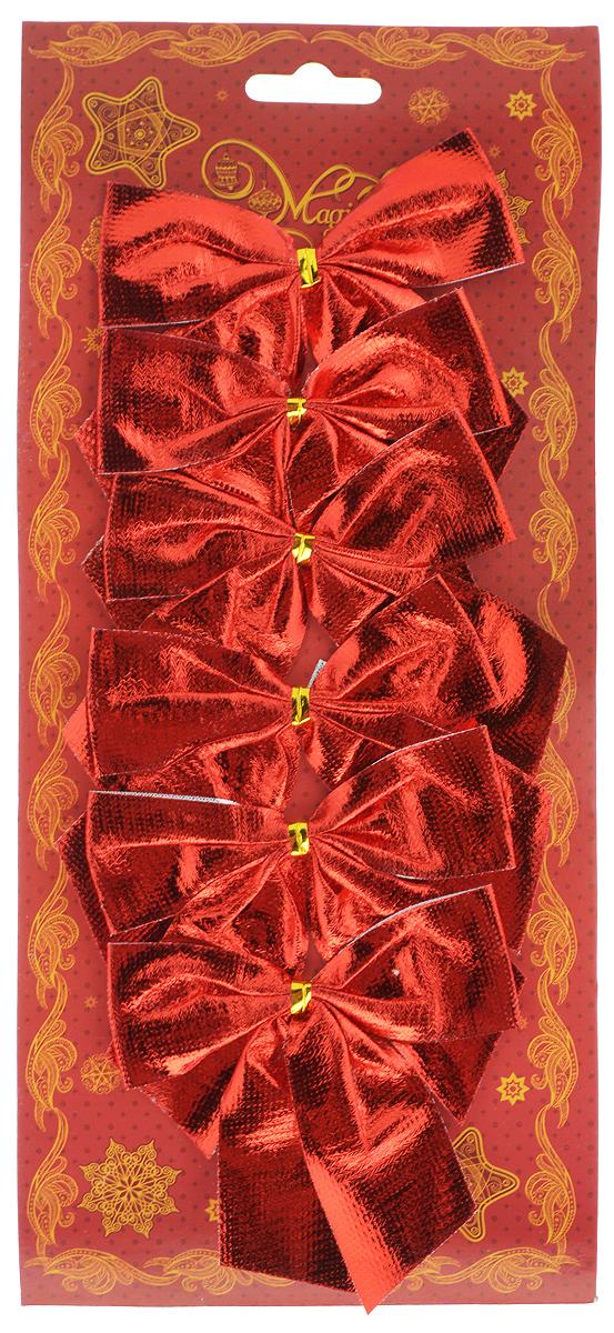 Украшение новогоднее Magic Time Бант красный шелк, 8 х 8 х 1 см, 6 шт42773Новогоднее украшение Magic Time Бант красный шелк отлично подойдет для декорации вашего дома и новогодней ели. Игрушка выполнена из полиэстера в виде бантика. Украшение можно привязать к ели. Елочная игрушка - символ Нового года. Она несет в себе волшебство и красоту праздника. Создайте в своем доме атмосферу веселья и радости, украшая всей семьей новогоднюю елку нарядными игрушками, которые будут из года в год накапливать теплоту воспоминаний.