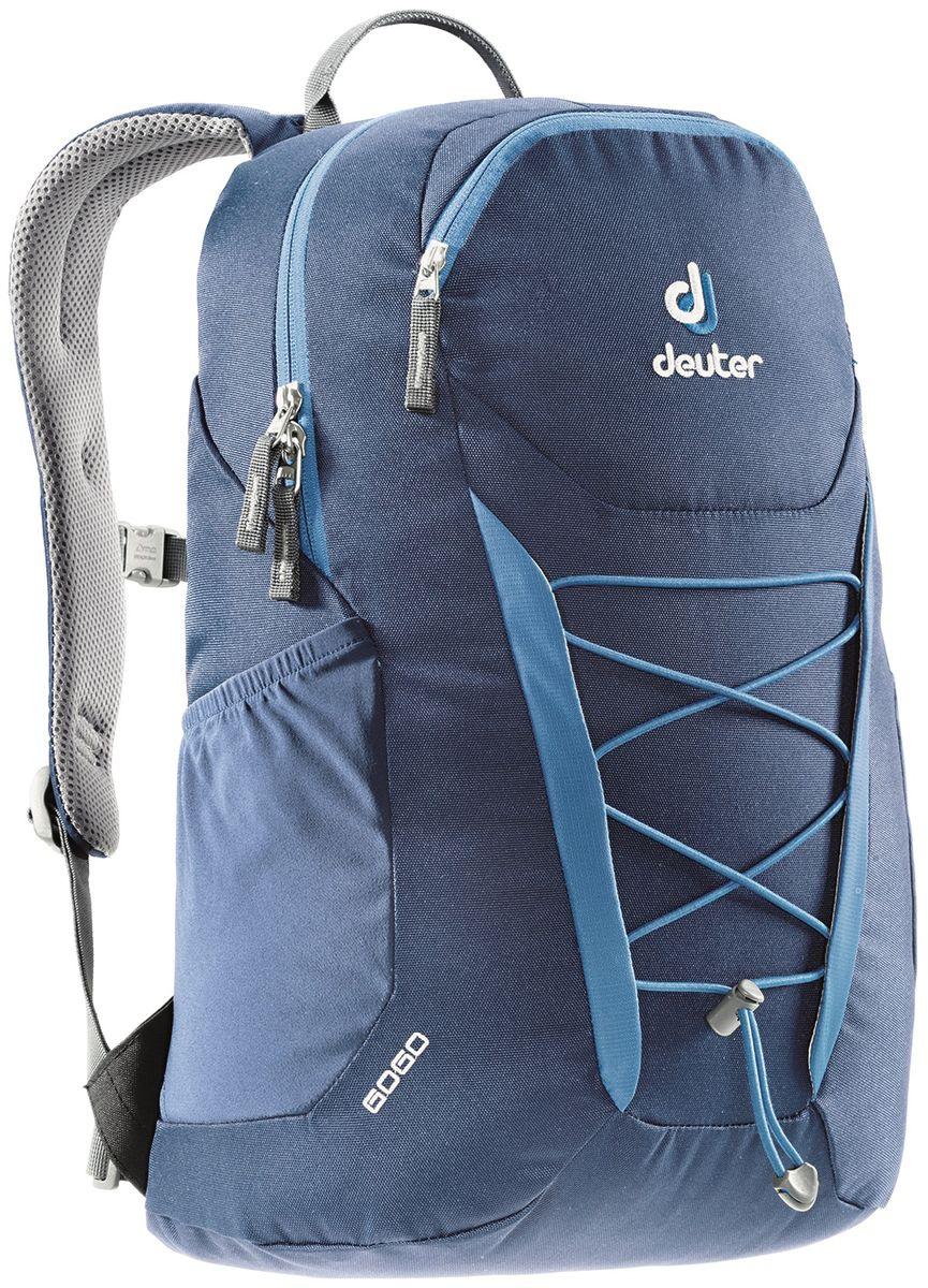 Рюкзак городской Deuter Go Go, цвет: синий, 25 л3820016_1370Deuter Gogo всегда был самым популярным и классическим среди городских рюкзаков, и мы долго не решались изменить его. Но, наконец, мы сделали это! Представляем вам новый, обтекаемый, с техническим дизайном рюкзак для школы, офиса и на каждый день. В нем сохранились все практичные опции и добавилась новая комфортная подвесная система. - Система спинки Airstripes. - Плечевые лямки анатомической формы - легкий доступ в основное отделение на U-образной молнии - фронтальный карман на молнии с карабинчиком для ключей - эластичные боковые карманы - нагрудная стропа с плавной регулировкой - главное отделение под размер папки для бумаг - отделения для документов - внутренний карман для мелких вещей - эластичный корд на фронтальной части Материал: Super-Polytex / 330D Pocket Rip / Microrip-Nylon Вес: 590 g Объем: 25 l Размеры: В x Ш x Г: 46 x 30 x 21 см.
