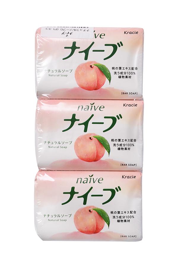 """Kracie 11138 """"Naive"""" Туалетное мыло с экстрактом листьев персикового дерева, 90 г x 3 шт 11138kr"""