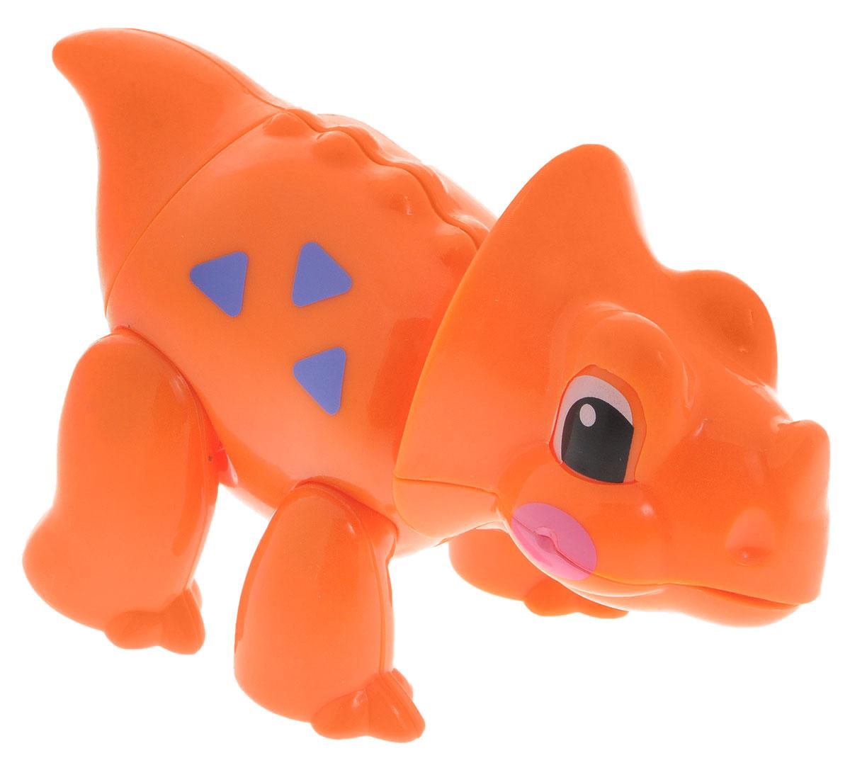 1TOY Фигурка В мире животных Динозавр цвет оранжевыйТ57443_оранжевыйФигурка В мире животных. Динозавр, выполненная из яркой пластмассы в виде симпатичного динозаврика, непременно придется по душе вашему малышу. Забавная фигурка имеет подвижные лапы, хвост и шею. Если двигать частями тела животного, то будут слышны негромкие щелкающие звуки. Фигурка В мире животных способствует развитию у ребенка цветового и звукового восприятия, мелкой моторики рук, хватательного рефлекса, осязания, координации движений и изучению живого мира нашей планеты. Отлично подходит для сюжетно-ролевых игр, которые способствуют развитию памяти и воображения у малыша.