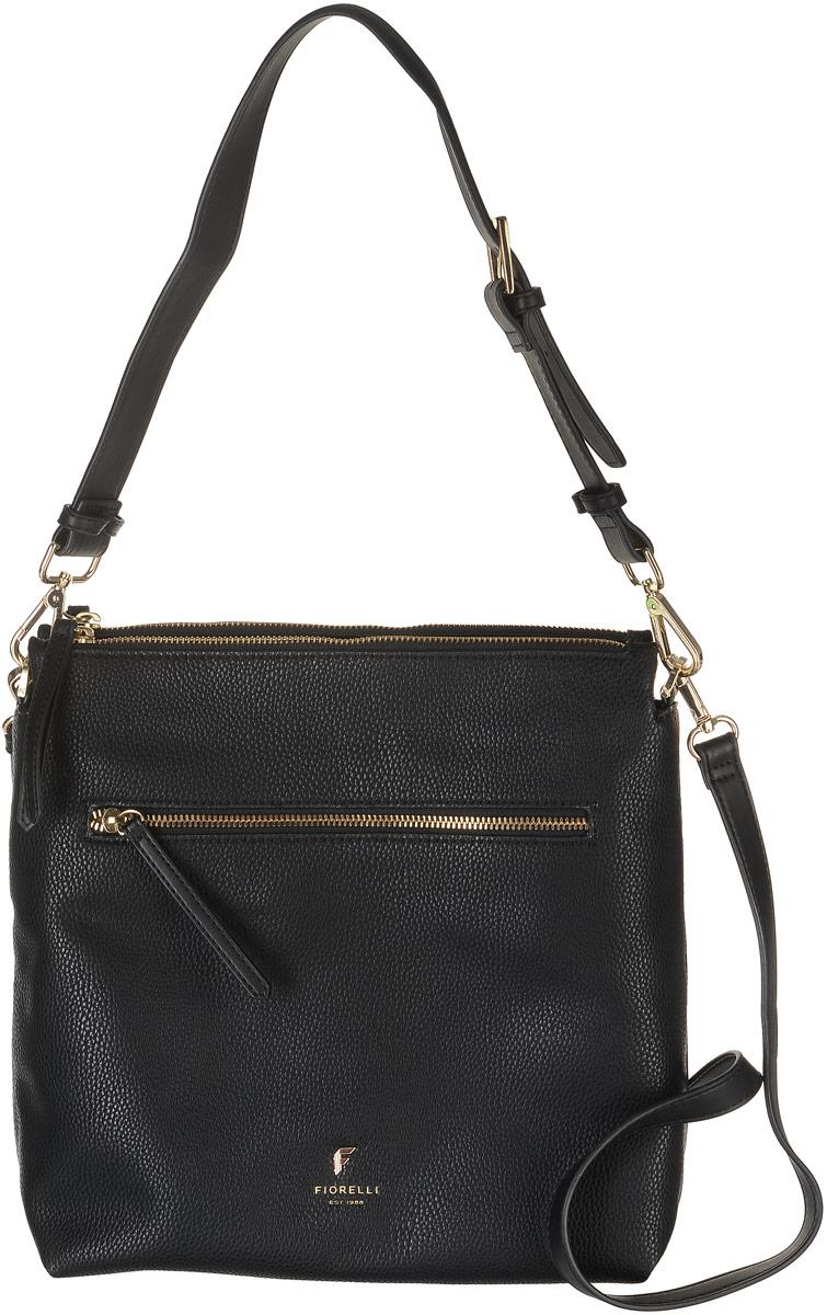 Сумка женская Fiorelli, цвет: черный. 8508 FH8508 FH BlackСтильная сумка Fiorelli выполнена из высококачественной экокожи и оформлена фирменной металлической пластинкой с логотипом бренда. На лицевой стороне расположен вшитый карман на молнии. Сумка оснащена съемной регулируемой ручкой и съемным плечевым ремнем, длина которого регулируется с помощью пряжки. Изделие имеет два боковых отделения, закрывающихся на застежку-молнию. Посередине расположено отделение, закрывающееся на магнитную кнопку. Оно содержит два открытых накладных кармана для телефона и мелочей и один вшитый карман на молнии.