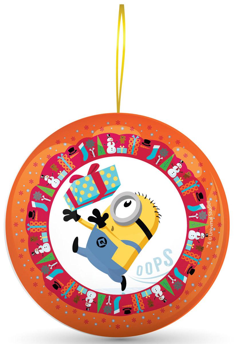 Сладкая Сказка Миньоны оранжевый подарочный шар с сюрпризом, 18 гMK-52-17/MI_оранжевыйПодарочный жестяной шар Миньоны - настоящий подарок к Новому году. Внутри новогоднего шара - 18 г натуральной леденцовой карамели и один из восьми коллекционных магнитов с изображением Стюарта, Кевина или Боба - героев мегапопулярной анимационной картины Миньоны.