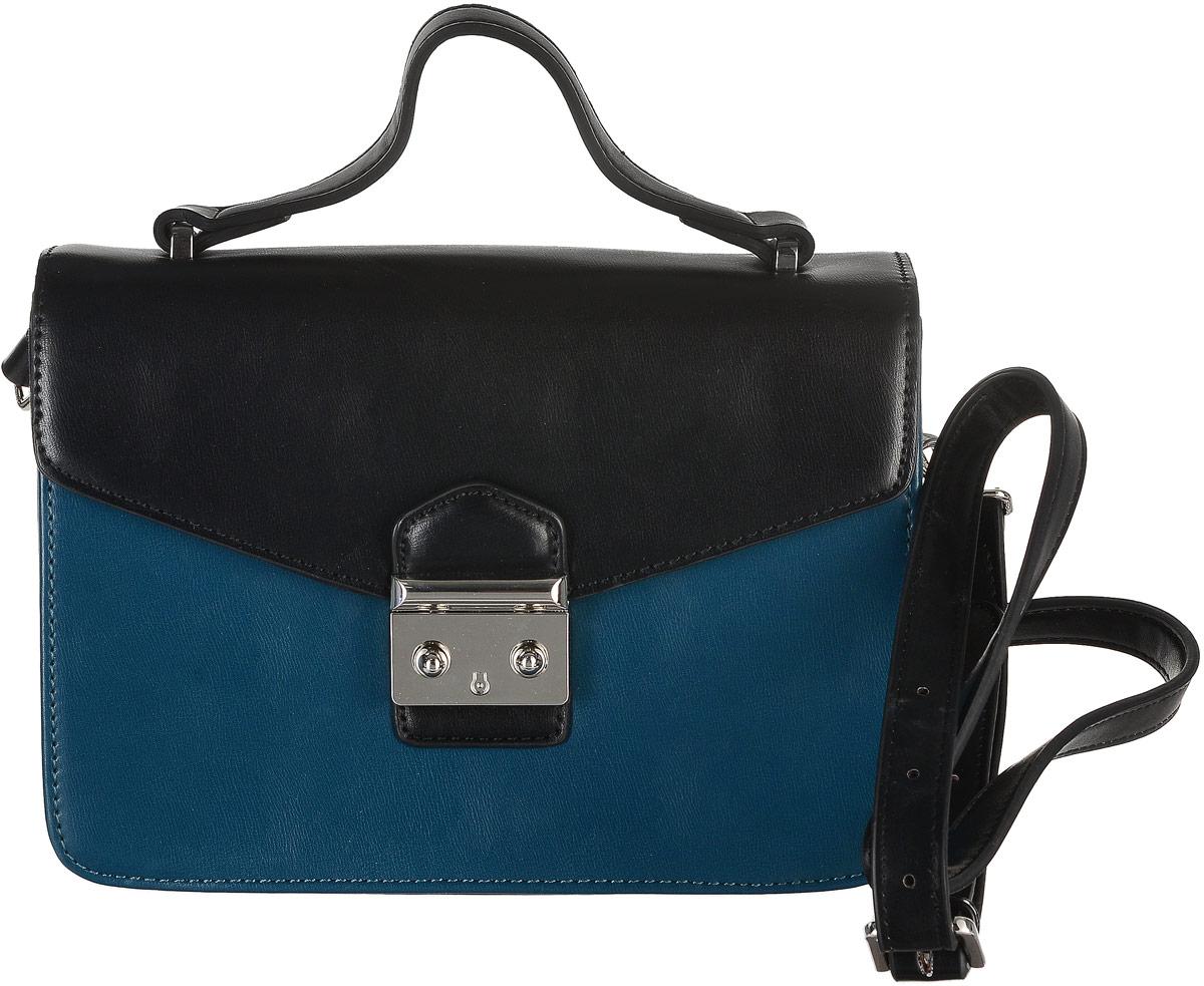 Сумка женская David Jones, цвет: черный, темно-бирюзовый. 5235-15235-1 PEACOCK/BLUEКомпактная сумка David Jones выполнена из экокожи. Сумка имеет одно основное отделение, закрывающееся на клапан с удобной защелкой. Внутри расположен прорезной карман на застежке-молнии и открытый карман для мелких принадлежностей. Модель оснащена удобной ручкой и длинным регулируемым наплечным ремнем, который крепится к сумке с помощью металлических карабинов. Модная сумка внесет элегантные ноты в ваш образ и подчеркнет неповторимый стиль.