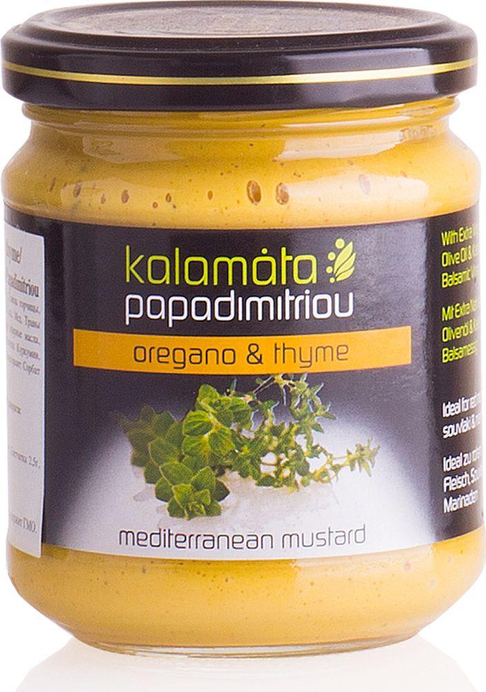 Papadimitriou горчица с душицей и чабрецом, 200 г12.0009Мягкая горчица в удобной упаковке. Kalamata Papadimitriou является ведущим брендом соусов и уксусов в Греции и экспортируется в разные страны по всему миру.