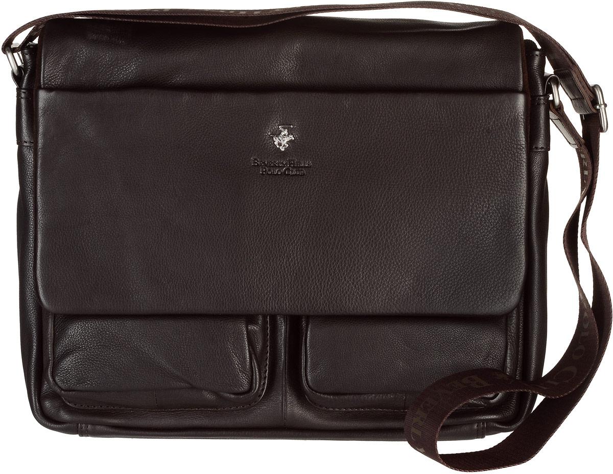 Сумка мужская Beverly Hills Polo Club, цвет: темно-коричневый. 303303_t_morМужская сумка Beverly Hills Polo Club выполнена из натуральной кожи с фактурным тиснением. Сумка закрывается на застежку-молнию и клапан на двух магнитных кнопках. Модель имеет одно основное отделение, где расположены карман под телефон, два держателя под канцелярские принадлежности, а также специальный мягкий карман для планшета. Снаружи, с фронтальной стороны сумки расположены два объемных открытых накладных кармана, прорезной карман на застежке-молнии, а также имеется дополнительный карман на клапане сумки, закрывающийся с помощью молнии. С тыльной стороны сумки расположен вшитый карман на застежке- молнии. Изделие оснащено регулируемым наплечным ремнем, который крепится к сумке с помощью металлических элементов. Сумка Beverly Hills Polo Club станет ярким и оригинальным подарком для человека, ценящего практичные и качественные вещи.