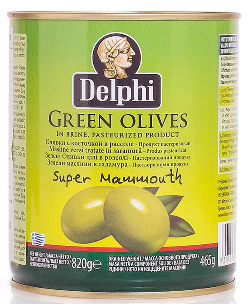 Delphi Оливки с косточкой в рассоле Super Mammouth 91-100, 820 г51.0022,1