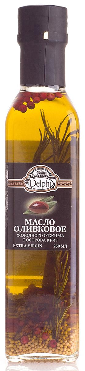 Delphi масло оливковое Extra Virgin с ароматическими травами, 250 мл81.0011,1Масло оливковое холодного отжима с острова Крит Экстра Вирджин. Кислотность Оливковое масло получают холодным прессованием самых лучших маслин с острова Крит. Масло рекомендовано для профилактики как сердечно-сосудистых, так и желудочно-кишечных заболеваний, благодаря натуральным веществам, которые содействуют защите организма от болезней и старения.
