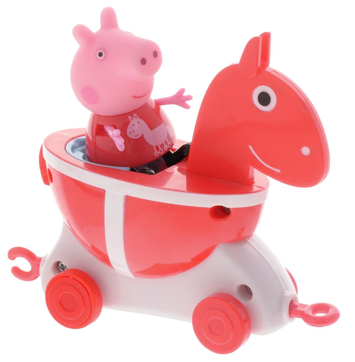 Peppa Pig Игровой набор Пеппа и Каталка Лошадка31011Игровой набор Peppa Pig Пеппа и Каталка Лошадка станет замечательным подарком для каждого поклонника мультфильма Свинка Пеппа. В наборе фигурка Пеппы и каталка-лошадка. Привяжите веревочку к специальному держателю и посадите фигурку Пеппы на сидение, чтобы ваш малыш мог возить каталку за собой. Лошадка оборудована колесиками и покачивается во время движения. Ручки и ножки фигурки двигаются. Игрушки выполнены из высококачественного пластика. С такими фигурками малыш сможет увлеченно играть и дома, и на улице, и даже в ванне. Яркая окраска фигурок улучшает цветовое восприятие ребенка, а приятная на ощупь поверхность развивает тактильные ощущения. Порадуйте свое драгоценное чадо столь интересным и развлекательным подарком.