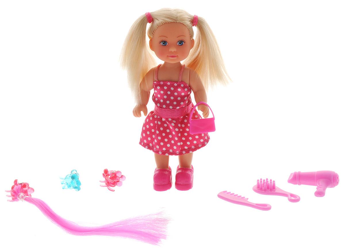 Simba Кукла Еви парикмахер5733358_платье малиновое в горошекКукла Simba Еви парикмахер порадует любую девочку и надолго увлечет ее. Для красивых причесок у куклы Еви есть все необходимое: 2 расчески, фен, сумочка, накладная коса, 2 заколки. Еви очень любит придумывать разные образы не только себе, но и своим друзьям. Еви одета в стильное розовое платье в белый горошек, а на ногах - милые ботиночки. Вашей дочурке непременно понравится заплетать длинные волосы куклы, придумывая разнообразные прически. Руки, ноги и голова куклы подвижны, благодаря чему ваша малышка может создавать и обыгрывать различные ситуации. Игры с такой куклой способствуют эмоциональному развитию, помогают формировать воображение и художественный вкус, а также разовьют в вашей малышке чувство ответственности и заботы. Великолепное качество исполнения делают эту куколку чудесным подарком к любому празднику.