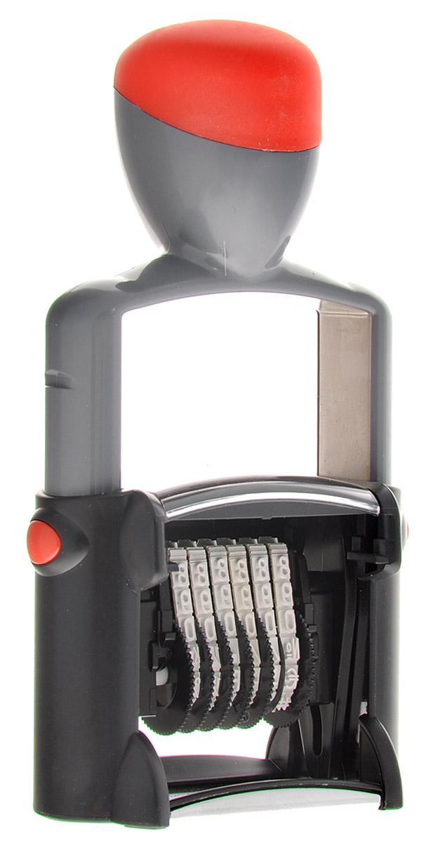 Trodat Нумератор шестиразрядный цвет серый красный 4 мм5546_серый, красныйОднострочный шестиразрядный нумератор Trodat будет незаменим в отделе кадров или в бухгалтерии любой компании. Компактный, но прочный металлический корпус гарантирует долговечное бесперебойное использование. Модель отличается высочайшим удобством в использовании и оптимально ложится в руку благодаря эргономичной ручке. Высота шрифта - 4 мм. Для получения оттиска цифры предварительно окрашиваются при помощи настольной штемпельной подушки. Используется для нумерации документов, проставления артикулов на товарах. Номер устанавливается вручную с помощью колесиков.
