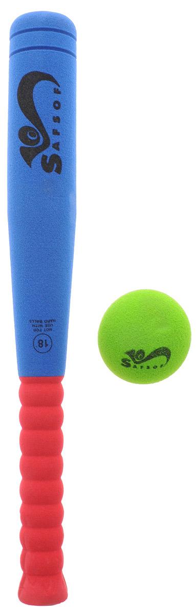 Safsof Игровой набор Бейсбольная бита и мяч цвет зеленый синий бордовый BB-18_зеленый, синий, бордовый
