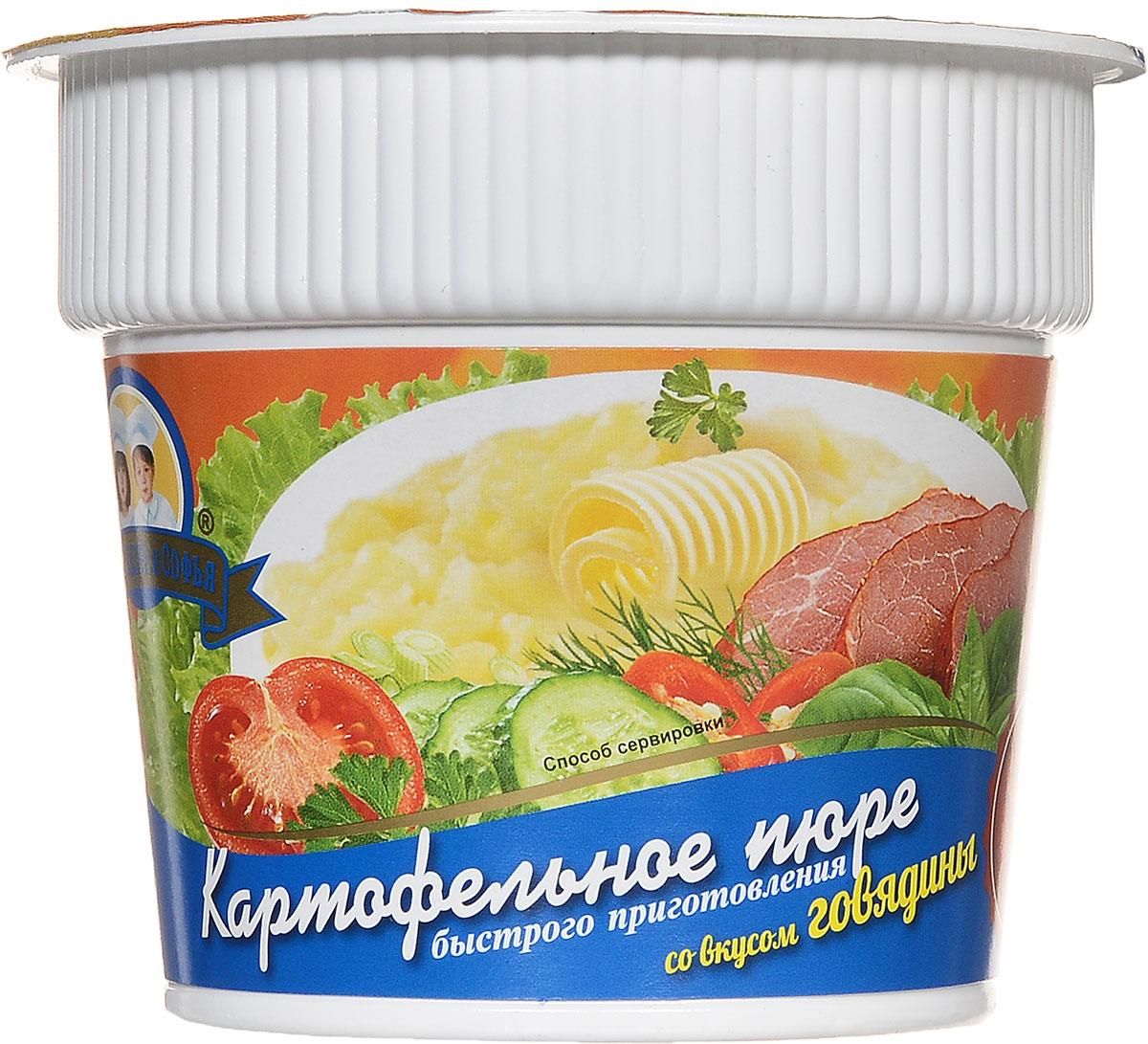Александра и Софья Картофельное пюре быстрого приготовления со вкусом говядины, 37 г