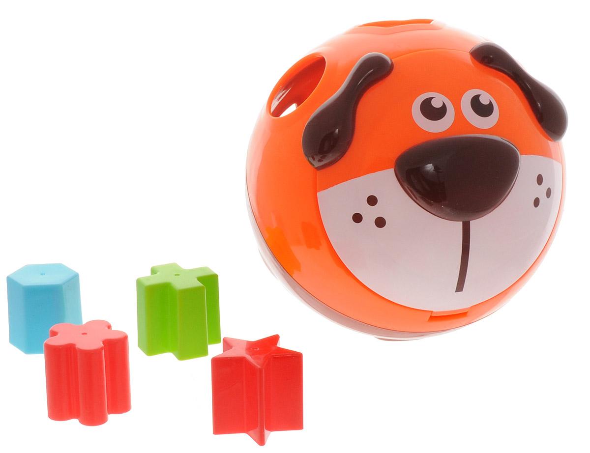 B kids Сортер Собачка000752B, 000752Игровой набор для детей Сортер Собачка - как и большинство развивающих товаров от B kids - предусматривает больше, чем один вариант игры. Начните осваивать игрушку, используя ее как мяч. Этот прочный круглый сортер с забавной мордочкой щенка можно катать по полу в любом возрасте. А для тех, кто уже достаточно большой, подойдет функция сортера: в корпусе шара 8 отверстий различной формы, а в комплекте идут подходящие к ним фигуры - круг, квадрат, треугольник, крест, звезда, сердце, цветок, шестиугольник, окрашенные в разные цвета. Игрушка B kids поможет ребенку в развитии цветового восприятия, мелкой моторики рук и координации движений.