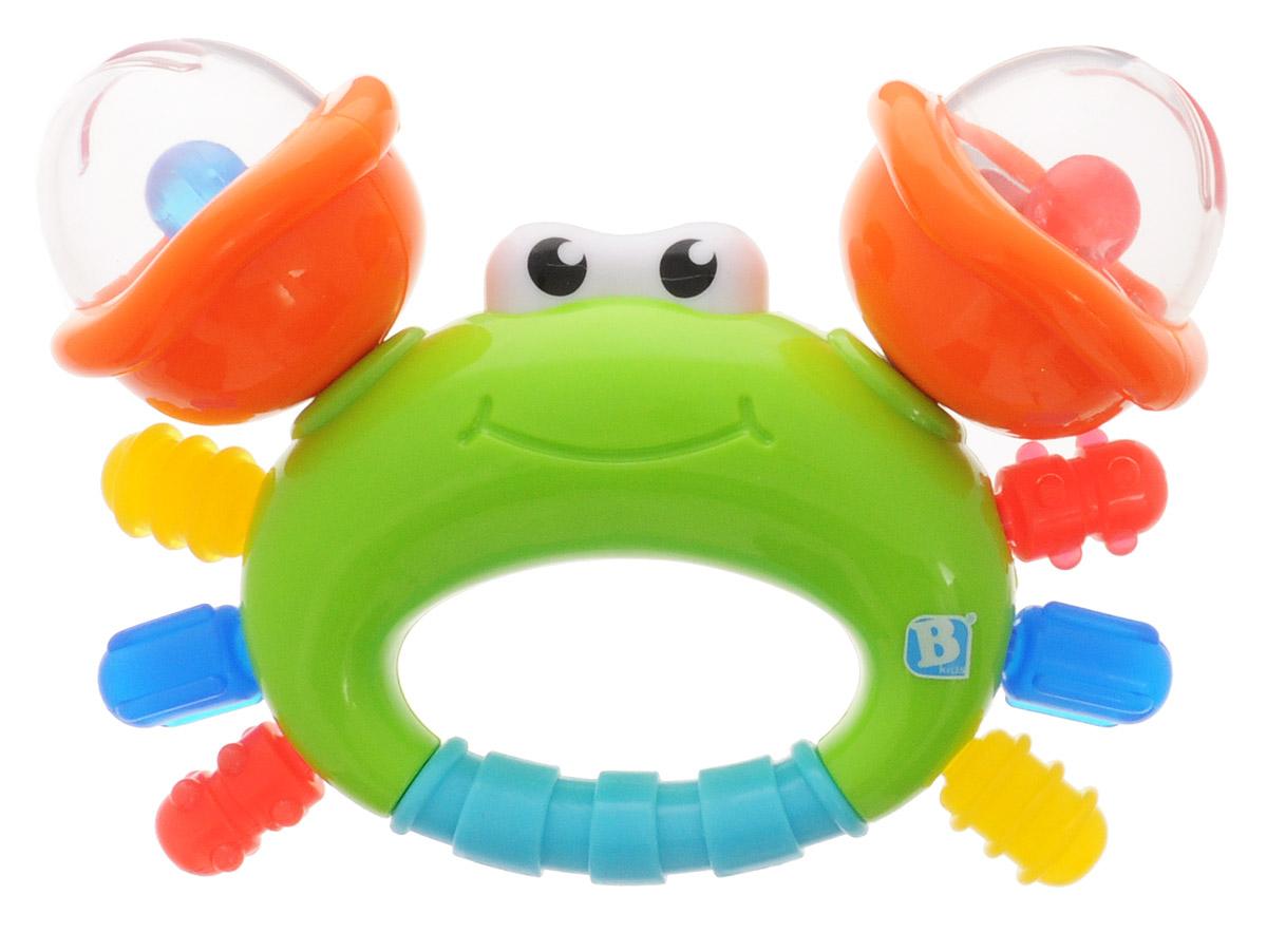 B kids Прорезыватель Веселый краб004889BИгрушка Веселый краб - это погремушка-прорезыватель с массажером для десен, созданная брендом B kids. У этого краба погремушки с цветными шариками в клешнях, а сами клешни крутятся. Глазки крабика погружаются внутрь игрушки при надавливании на них. Это надолго займет любознательного малыша, помогая ему осознавать причинно-следственные связи. А еще здесь есть рельефные поверхности, которыми удобно чесать режущиеся зубы, и, наконец, специально разработанная ручка для захвата игрушки маленькими ладошками. Игрушка B kids поможет ребенку в развитии цветового и звукового восприятия, мелкой моторики рук и координации движений. Такую игрушку можно предложить ребенку с рождения.