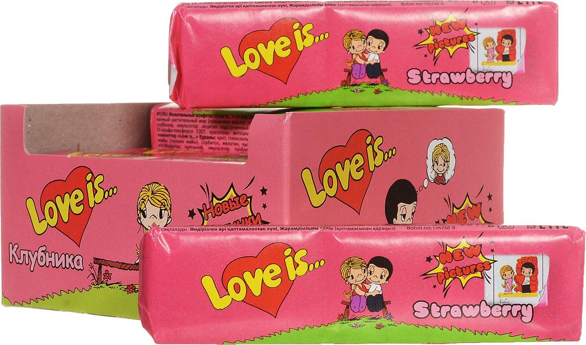 Love is Клубника жевательные конфеты, 12 шт70292Любви не может быть много ! Порадуйте любимых клубничным десертом с вишневым ароматом от Love is. В блоке 12 конфет, каждая конфета - это пять жевательных стиков с вкладышами новой серии.