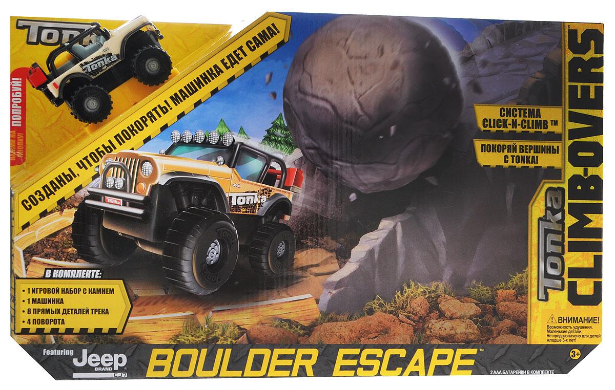 Tonka Игрушечный трек Boulder Escape06669TИгрушечный трек Tonka Trash Treader с машинкой Jeep станет замечательным подарком для юного автогонщика. Яркие детали трека легко соединяются между собой. Дорога светло-бежевого цвета овальной формы состоит из двенадцати секций. Она ведет в тоннель под горой, где автомобиль ожидает опасность - большой круглый камень может упасть сверху. Но бесстрашный джип с мощными черными колесами легко пройдет по бездорожью, где сможет устроить настоящую гонку. Игровой трек совместим со всеми машинками и треками из серии Climb-Overs. Рекомендуется докупить 2 батарейки напряжением 1,5V типа ААА (товар комплектуется демонстрационными).