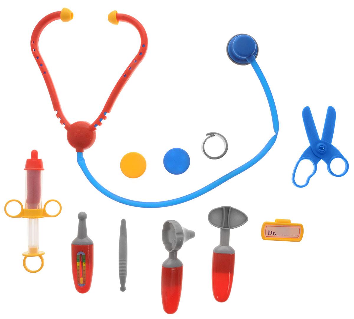 Klein Игрушечный набор доктора4624Игрушечный набор доктора Klein - замечательный набор для сюжетно-ролевых игр в больницу и доктора. С таким набором ваш ребенок окунется в увлекательную атмосферу игры. В компактном пластиковом чемоданчике вы найдете 10 предметов для игры: стетоскоп, градусник, молоточек невролога, инструмент отоларинголога, пластырь, шприц, бейдж, баночку для лекарств, ножницы, пинцет. С этим набором ваш маленький доктор сможет почувствовать себя квалифицированным специалистом. Теперь все игрушки будут совершенно здоровы.