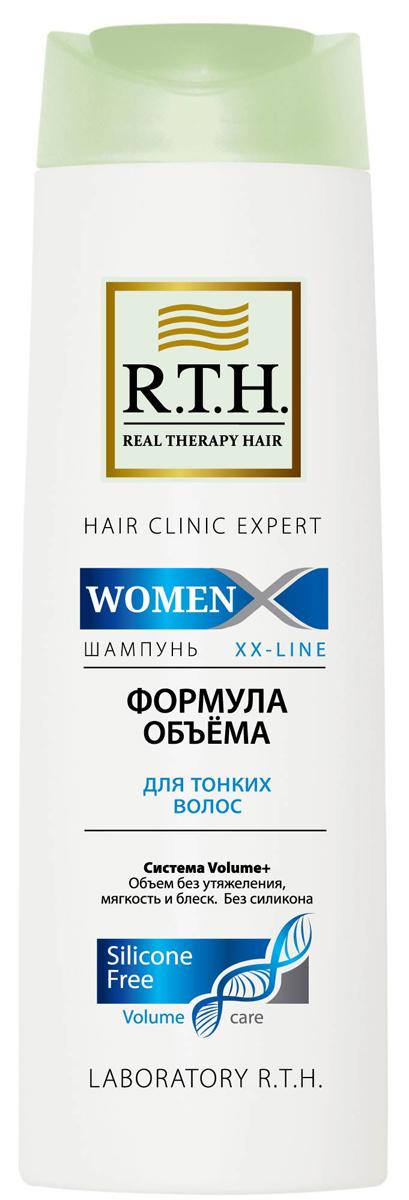 Шампунь R.T.H. Women Формула объема4604903000028Шампунь без силикона деликатно очищает и придает заметный объем. Система Volume+ укрепляет тонкие волосы, уплотняет волосы по всей длине, защищает их и облегчает укладку.