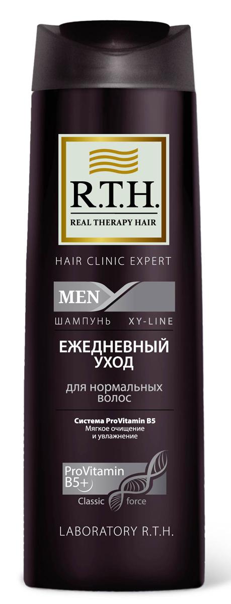 Шампунь R.T.H. Men Ежедневный уход4604903000134Эффективно очищает и увлажняет волосы и кожу головы. Протеин в составе формулы защищает структуру волос и предотвращает сухость кожи головы при ежедневном использовании. Шампунь восстанавливает волосы, обеспечивает естественное увлажнение и защищает от последующих негативных воздействий окружающей среды.