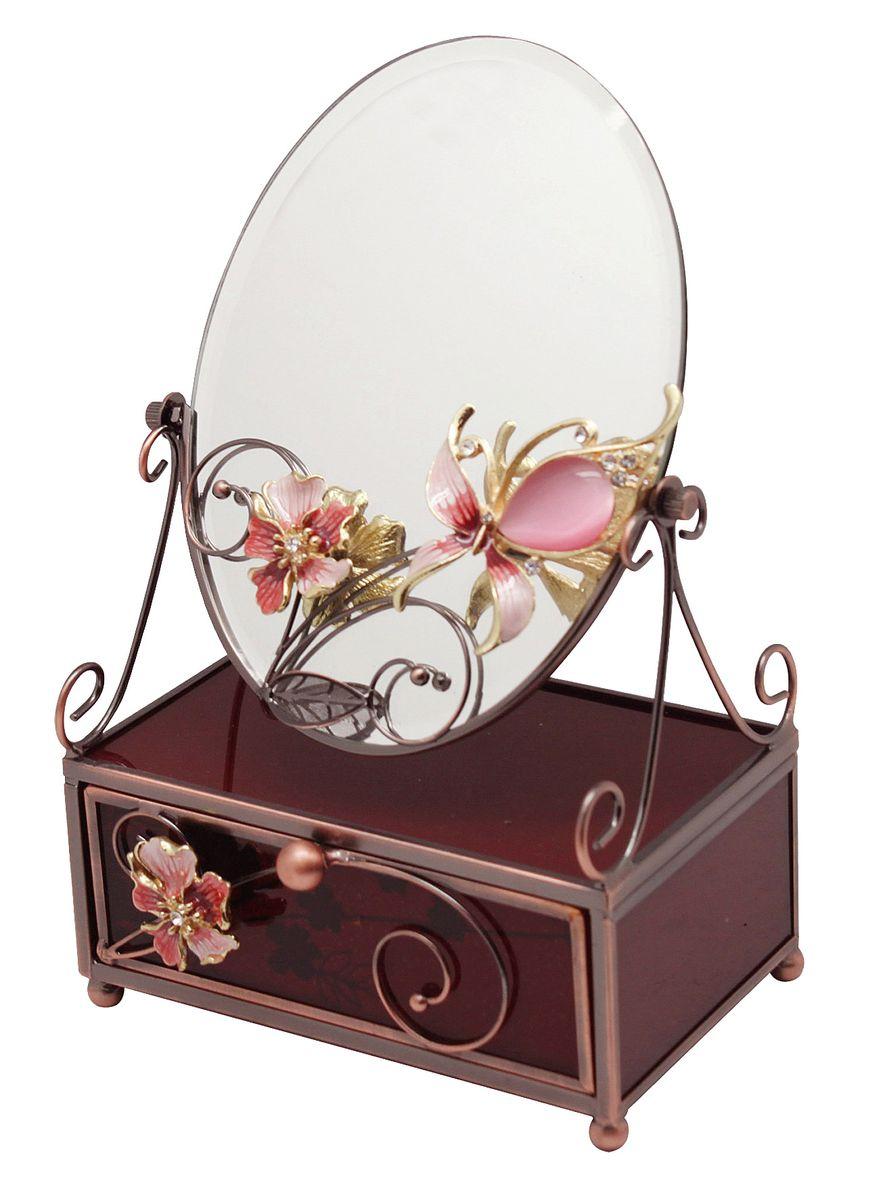 Шкатулка Jardin dEte Багровый закат, с зеркалом, 13 х 9 х 20 смHS-25260Iнержавеющая сталь, стекло, пластик