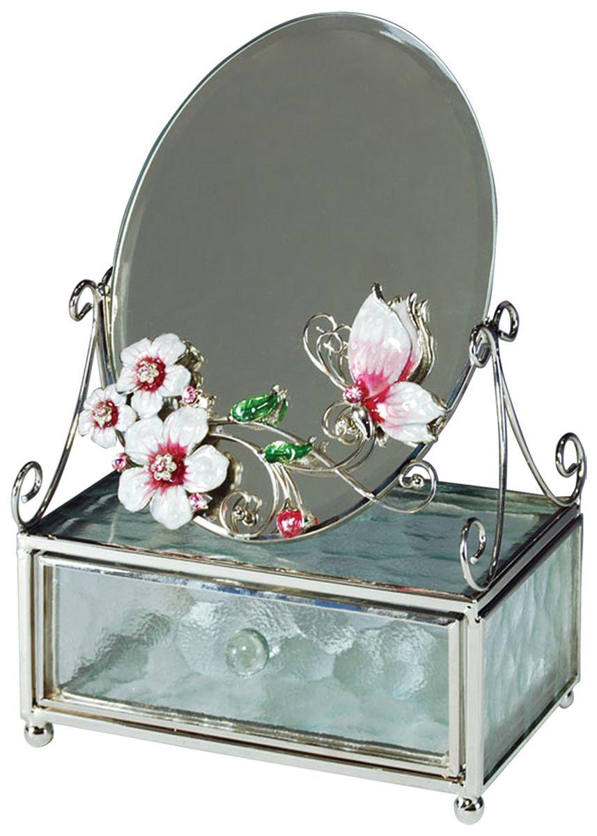 Шкатулка Jardin dEte Розовая глазурь, с зеркалом, 13 х 6 х 20 смHS-22368Eсталь, стекло
