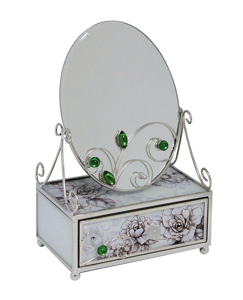 Шкатулка Jardin dEte Благородный изумруд, с зеркалом, 13 х 8 х 20 смHS-25840FЗеркало, дополненное шкатулкой, Jardin DEte Благородный изумруд способно растопить женские сердца. Комбинация матового стекла и нержавеющей стали прекрасно сочетается, создавая изысканный дизайн. Овальное зеркало зафиксировано на металлических ножках, поэтому достаточно устойчиво. Оригинальная декорация из металла и камней зеленого цвета создает изысканную композицию. Шкатулка оснащена выдвижным ящичком со стеклянной ручкой, в котором разместятся ювелирные украшения или любимые вещи. Благородный изумруд украсит косметический столик владелицы и подарит прекрасное романтическое настроение.