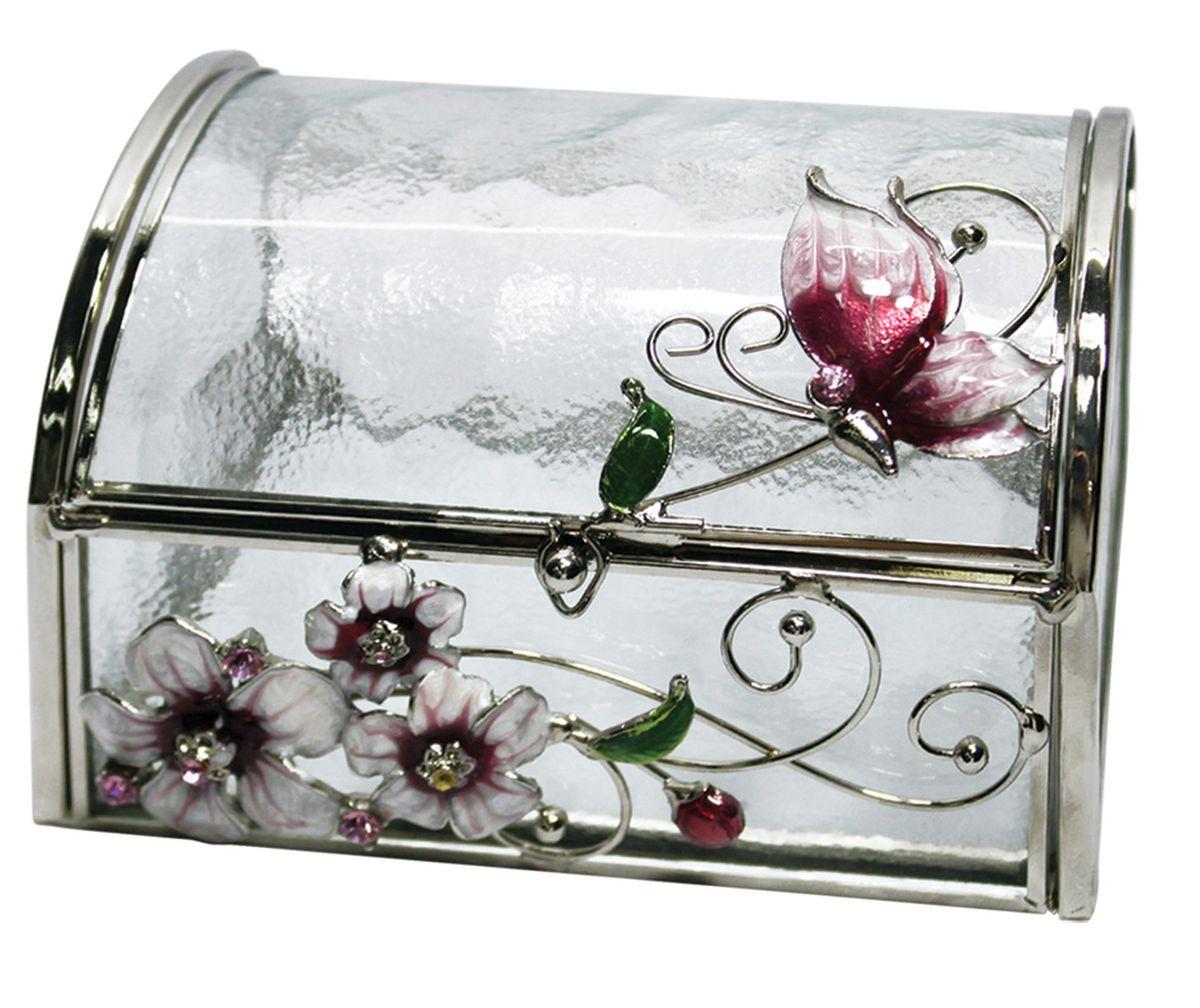 Шкатулка Jardin dEte Розовая глазурь, 11 х 10 х 8 смHS-22368Gсталь, стекло