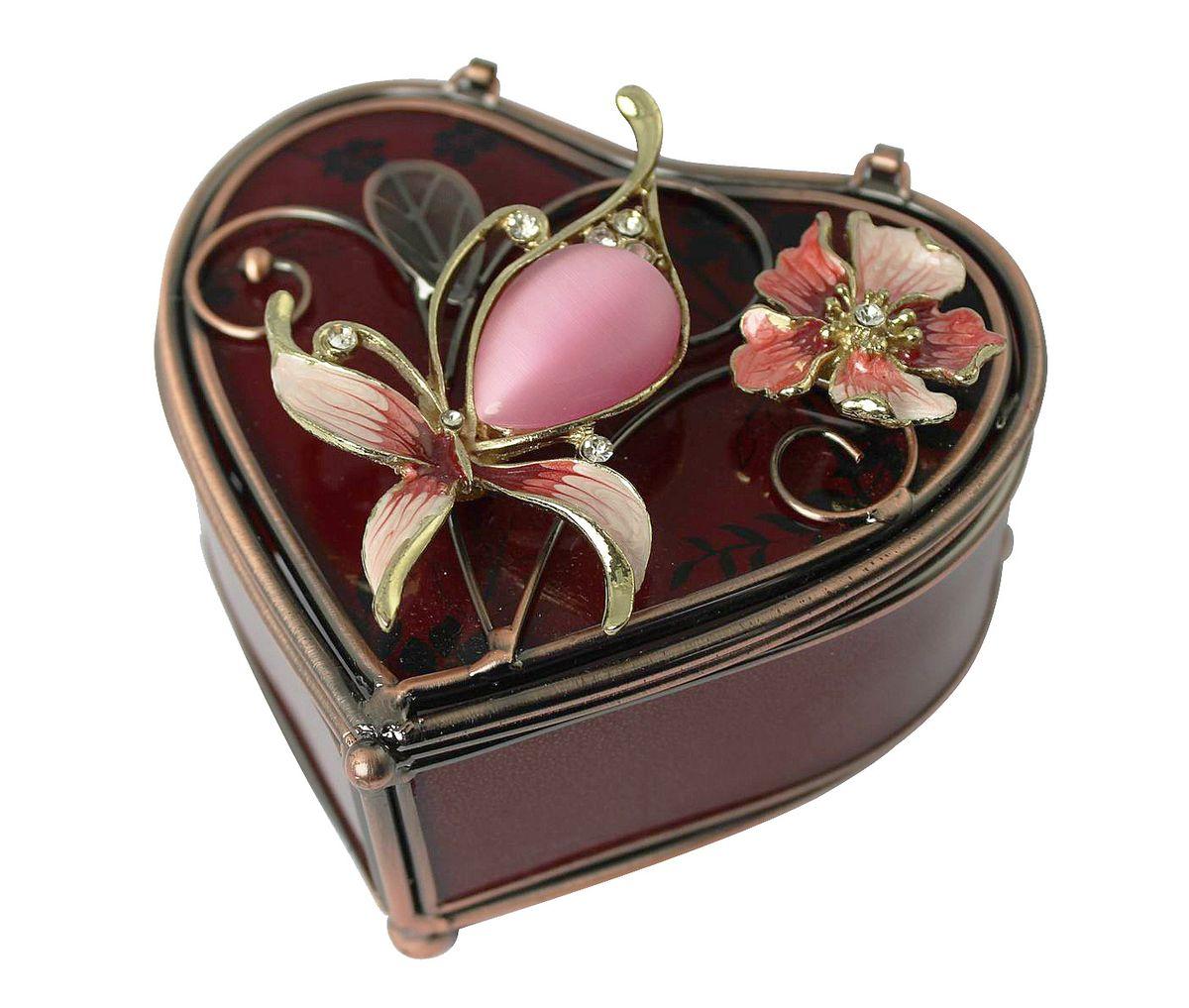 Шкатулка Jardin dEte Багровый закат, 10 х 10 х 5 смHS-25260Cв форме сердца, нержавеющая сталь, стекло, пластик