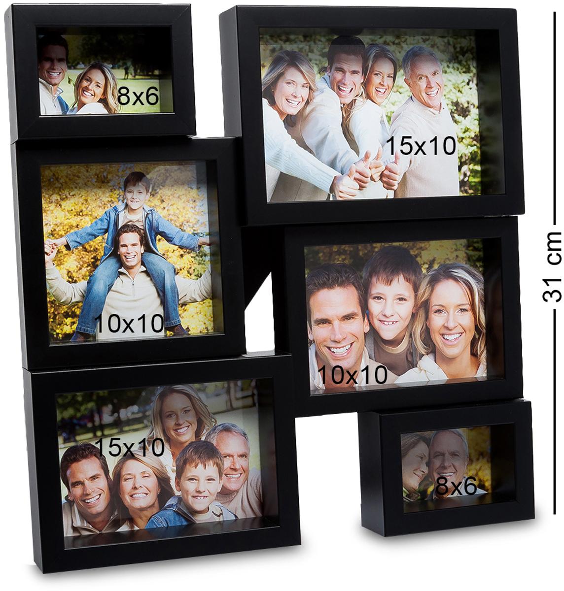Панно из фоторамок Bellezza Casa Семейная история, на 6 фото: 8х6, 10х10, 15х10. CHK-138CHK-138Панно из фоторамок на 6 фото для фотографий 8х6, 10х10 и 15х10 см. Раньше считалось, что фоторамка в подарок – это что-то глупое и, что у человека ее подарившего нет фантазии. Но времена меняются и фоторамку Семейная история несомненно, захотели бы получить все, кто ее видели. Фоторамка выполнена из пластика, черная отделка смотрится современно, модно. А еще, сама рамка, рассчитанная на 6 фотографий, станет модной изюминкой любой комнаты, будь-то гостиная или спальня.