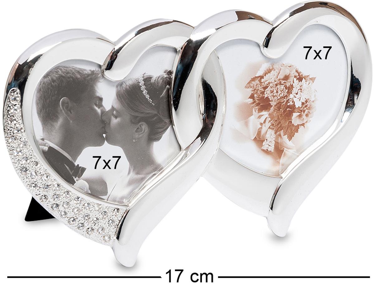 Фоторамка Bellezza Casa Влюбленные сердца, на 2 фото: 7х7. CHK-010CHK-010Фоторамка Сердечко на 2 фото для фотографий 7х7 см. Два прекрасных сердечка соединены вместе, подобно обручальным кольцам. Серебристый прохладный материал приятно взять в руки. Фоторамка, которая может превратиться в прекрасный подарок на юбилей свадьбы, годовщину знакомства, любую другую дату — тем, кто влюблен, не требуется долго искать повод для приятного сюрприза.