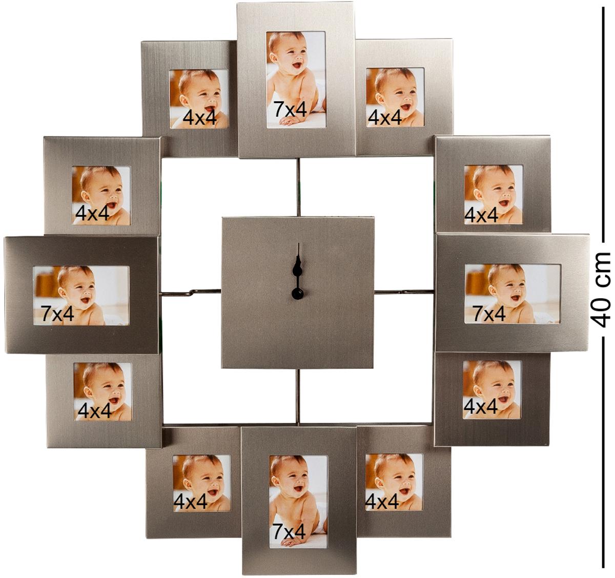 Панно-часы Bellezza Casa В ногу со временем, на 12 фото: 4х4, 7х4. CHK-022CHK-022Панно из фоторамок для 12 фотографий с часами (метал мат.) Для фотографий 4х4 и 7х4 см. Если в семье растет маленький ребенок, вполне понятно желание родителей его постоянно фотографировать и иметь перед глазами эти фотографии, чтобы отслеживать, насколько быстро он растет и как изменяется с возрастом. Для этого очень удобно использовать такое панно-часы, в котором вместо часовых делений использованы маленькие рамочки для фотографий размером 4х4 и 7х4 сантиметра. Постарайтесь фотографировать вашего малыша каждый месяц, и тогда за год вы заполните все рамочки и получите великолепную подборку, рассказывающую о первых месяцах жизни ребенка. В дальнейшем можно поменять снимки, и тогда часы будут показывать время роста в течение первых лет.