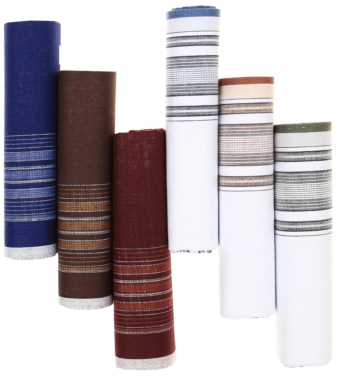 Платок носовой мужской Zlata Korunka, цвет: мультиколор, 6 шт. М37А. Размер 43 х 43 смМ37АМужские носовые платки Zlata Korunka изготовлены из натурального хлопка, приятны в использовании, хорошо стираются, материал не садится и отлично впитывает влагу. В упаковке 6 штук.