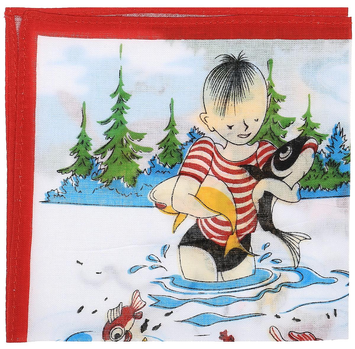 Платок носовой детский Zlata Korunka, цвет: мультиколор, 45453. Размер 27 х 27 см45453_мальчик с рыбамиДетский носовой платочек Zlata Korunka изготовлен из натурального хлопка, приятен в использовании, хорошо стирается, материал не садится и отлично впитывает влагу. Оформлен принтом с изображением мальчика на рыбалке.