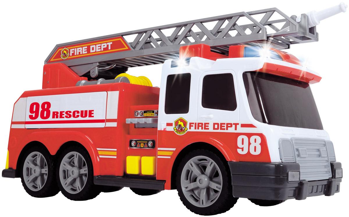 Dickie Toys Пожарная машина функциональная3308358Пожарная машина с лестницей Dickie Toys привлечет внимание вашего ребенка и не позволит ему скучать. Игрушка выполнена из прочного пластика в виде хорошо детализированной пожарной машины. Лестница поднимается и выдвигается вперед, колеса со свободным ходом. Ваш ребенок сможет часами играть с пожарной машиной, придумывая разные истории. Порадуйте его таким замечательным подарком!