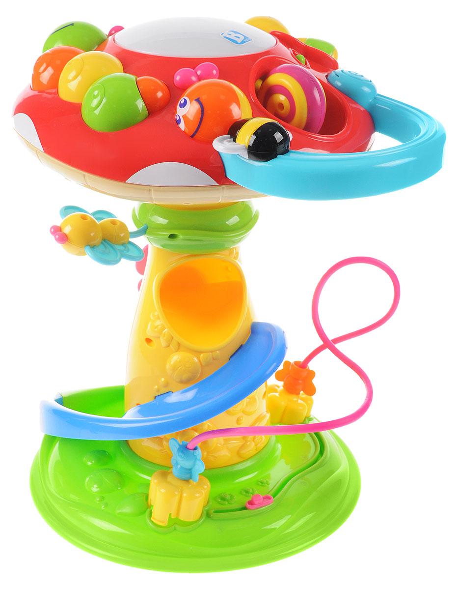 B kids Развивающий центр Удивительный грибок003980Развивающий центр B kids Удивительный грибок рассчитан на детей нескольких возрастов. Помимо самого гриба в коробке вы найдете три шарика (один из которых - светящийся): бросайте их в отверстие на шляпке мухомора - шары будут скатываться вниз, а из гриба донесется приятная мелодия. В развивающий центр встроена популярная логическая игрушка лабиринт: здесь он небольшой, но приятной расцветки, с двумя мотыльками, которых можно передвигать от цветка к цветку по изогнутому пути. У основания гриба есть еще один подвижный персонаж - улитка. Она перемещается влево и вправо по короткой дорожке. На ножке гриба установлены шестеренки в виде цветов: их можно крутить. А шляпку венчает пианино в виде большой гусеницы, каждый сегмент которой воспроизводит свой звук. Шляпка отделяется, и с пианино можно играть лежа. Диаметр шляпки гриба: 30 см. Высота гриба: 40 см. Для детей от 9 месяцев. Для работы игрушки необходимы 2 батарейки типа АА напряжением...