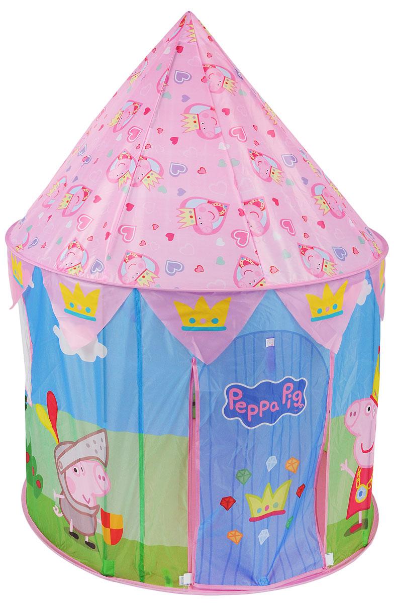 Peppa Pig Палатка для игр Волшебный замок Пеппы30013Побалуйте свою маленькую принцессу, подарив ей игровую палатку «Волшебный замок Пеппы», созданную по мотивам мультфильма «Свинка Пеппа». Не сомневайтесь – она обязательно станет любимым домиком малютки, ведь с ее помощью малышка почувствует себя настоящей особой королевских кровей. Благодаря удобному самораскладывающемуся каркасу палатки и стойкам для фиксации в высоту, вы легко сможете ее складывать и раскладывать, а поможет вам в этом краткая инструкция в картинках. Компактный размер в сложенном виде позволяет легко переносить палатку, поэтому с ней комфортно играть и дома, и на природе. Входной полог закрывается на липучки. Сетчатые окошки обеспечивают хорошую вентиляцию. Палатка в виде замка с изготовлена из полиэстера с пластиковыми и металлическими элементами.