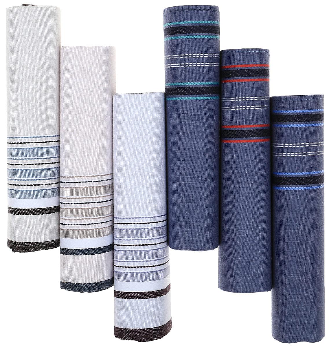 Платок носовой мужской Zlata Korunka, цвет: темно-синий, светло-голубой, 6 шт. М50А. Размер 43 х 43 смМ50АМужские носовые платки Zlata Korunka изготовлены из натурального хлопка, приятны в использовании, хорошо стираются, материал не садится и отлично впитывает влагу. В упаковке 6 штук.