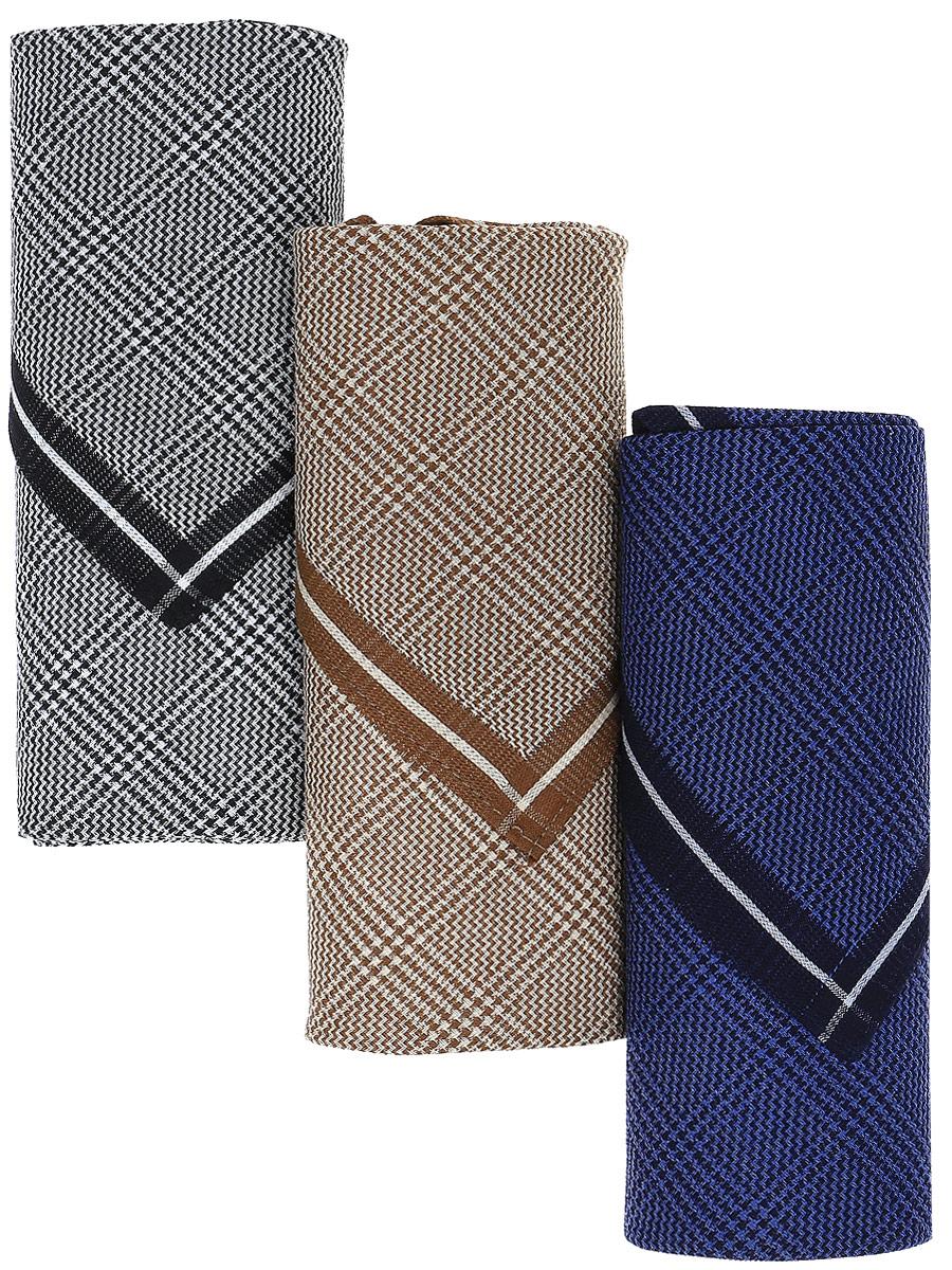 Платок носовой мужской Zlata Korunka, цвет: черный, бежевый, синий, 3 шт. М55А. Размер 43 х 43 смМ55АМужские носовые платки Zlata Korunka изготовлены из натурального хлопка, приятны в использовании, хорошо стираются, материал не садится и отлично впитывает влагу. В упаковке 3 штуки.