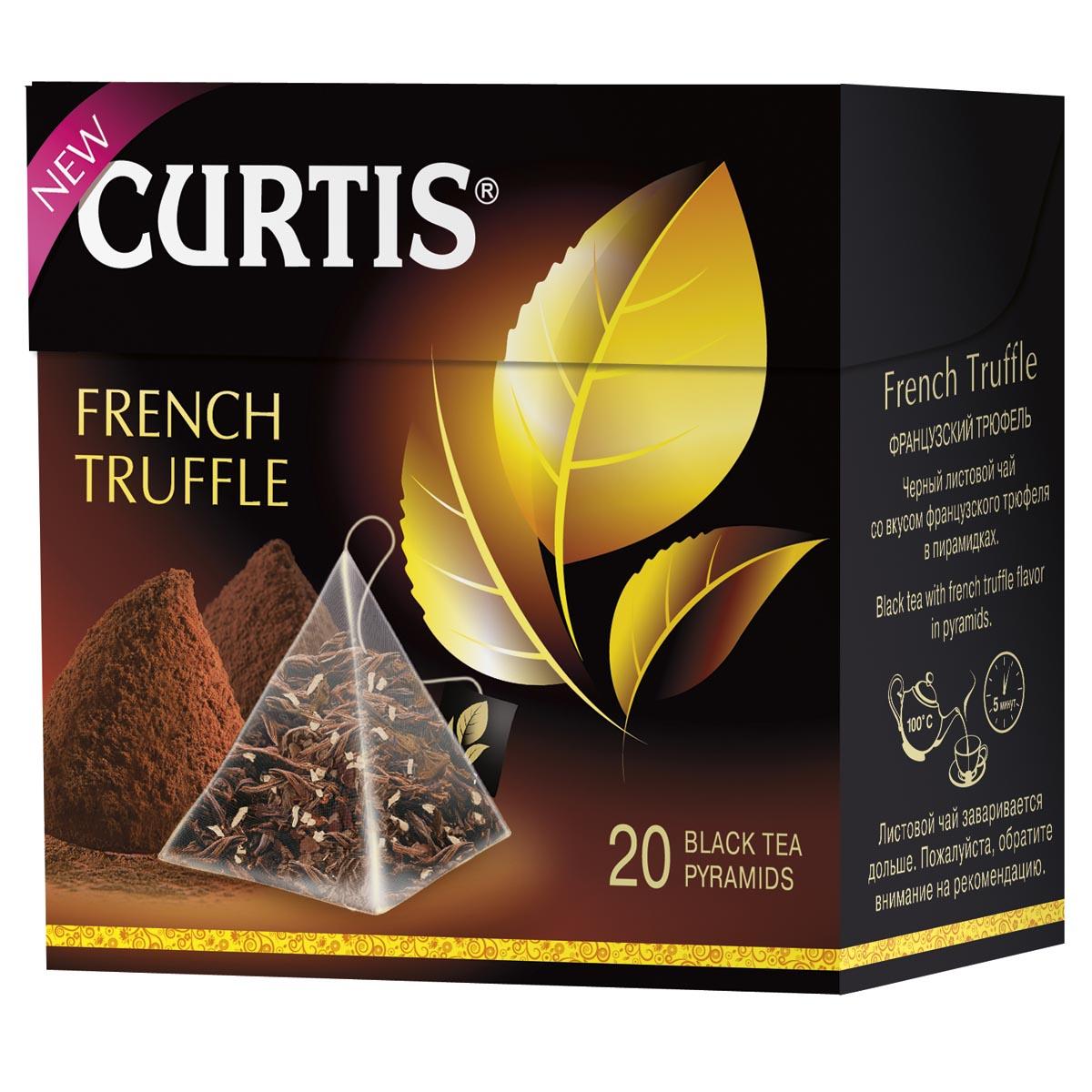 Curtis French Truffle черный чай в пирамидках, 20 шт4620015851068Соблазнительный черный чай со вкусом нежного шоколадного трюфеля и сливочной нотой - необычайно, словно вечер на Лазурном берегу. Насладитесь обновленным купажом черного листового чая.