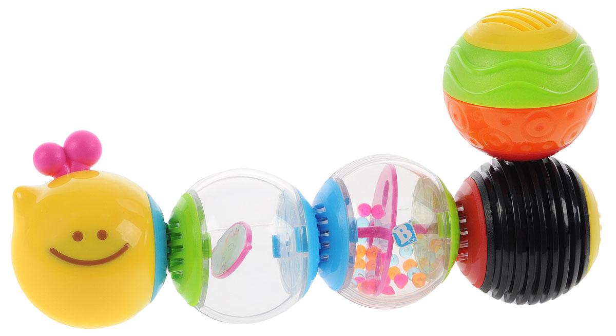 B kids Развивающая игрушка Веселая гусеничка 004835004835Развивающая игрушка B kids Веселая гусеничка - это пять шариков, которые можно соединять в забавную гусеницу или снова разбирать. Шарики между собой соединяются резьбой. Приятный момент: это не только пазл, но еще и погремушка - потрясите гусеницу, и вы услышите звук. Кстати, соединять шары можно в произвольном порядке: не обязательно складывать гусеницу - создайте то, что подсказывает фантазия. Такая игрушка с раннего возраста стимулирует у малышей развитие творческих способностей. В комплект входят 5 шариков. У каждого шарика - свое наполнение, цвет и текстура. Для детей от 6 месяцев.