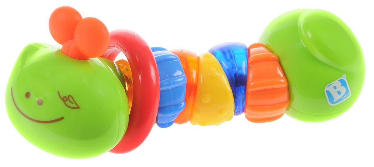 B kids Развивающая игрушка Гусеничка004891BИгрушка Гусеничка от B kids - яркая и оригинальная погремушка, созданная из качественных и безопасных даже для самых маленьких детей материалов. Потрясите гусеницу, и вы услышите звук. Малышу это поможет усвоить причинно-следственные связи. Сегменты гусеницы не только окрашены в разные цвета, но и имеют различную рельефную поверхность, а это значит можно развивать тактильные ощущения, а также выбирать наиболее удобный способ, чтобы почесать режущиеся зубы. Кроме того, здесь есть колечко, которое можно передвигать вдоль гусеницы. Игрушка B kids поможет ребенку в развитии цветового и звукового восприятия, мелкой моторики рук и координации движений. Такую игрушку можно предложить ребенку с рождения.