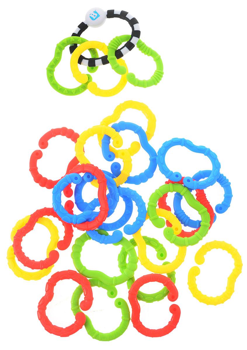 B kids Игрушка-подвеска Веселые колечки004898Игрушка-подвеска B kids Веселые колечки - это большой набор колец с разными цветами и текстурами, который служит одновременно для развития логических способностей малыша, стимуляции тактильных ощущений, облегчения зуда во время прорезывания зубов, а также для подвешивания других игрушек! В этом по-настоящему многофункциональном наборе содержатся 25 колец: одно - монохромное, цельное и 24 - различной формы и цвета, с разнообразными рельефными покрытиями и обязательным отверстием, служащим для сцепления колечек между собой. Рассматривайте, ощупывайте, кусайте, соединяйте колечки, а также подвешивайте на них уже имеющиеся у вас игрушки: можно закрепить цепь на детской кроватке, коляске, автокресле. Игрушка подходит для детей с рождения. Не содержит бисфенол А.