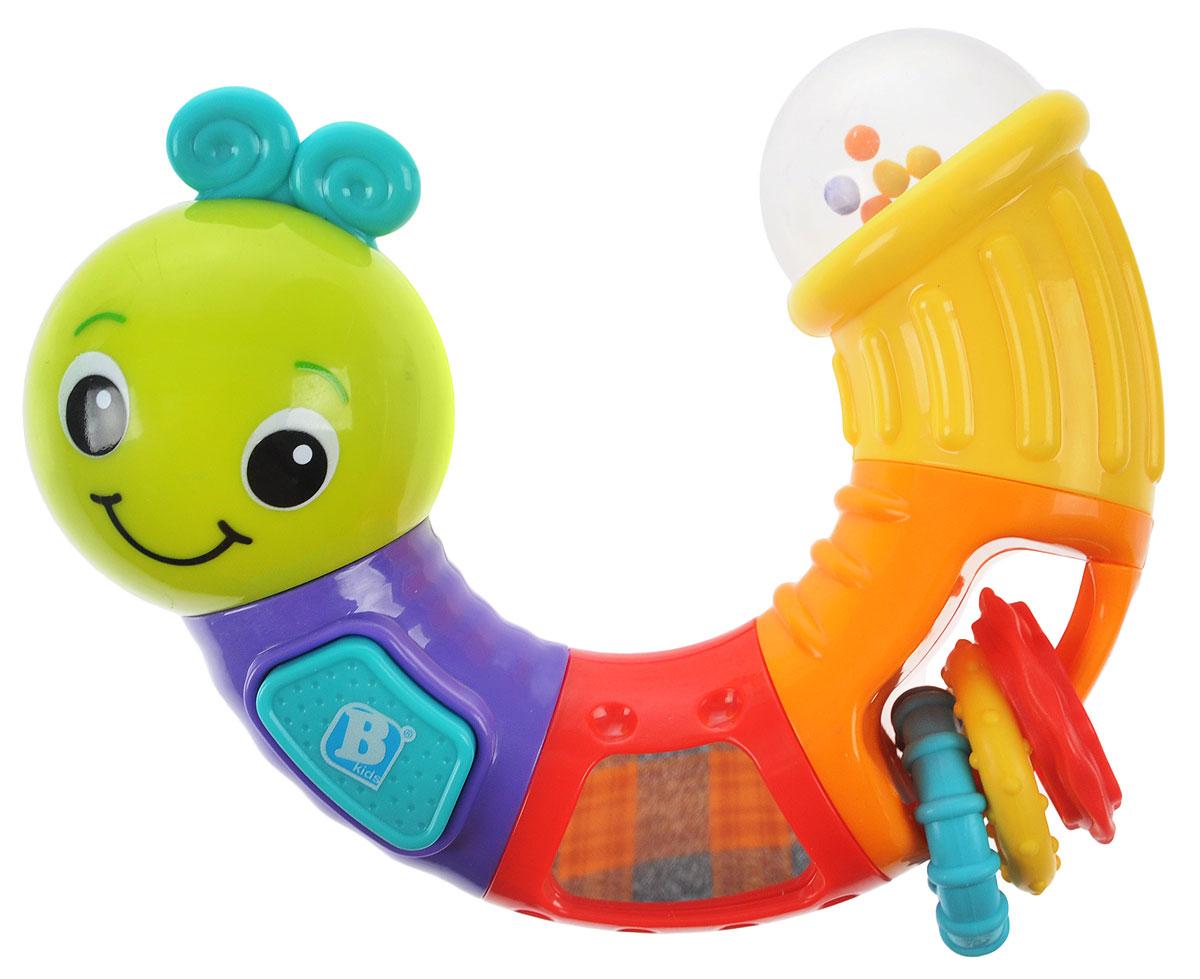 B kids Развивающая игрушка Веселая гусеничка 005129005129Развивающая игрушка B kids Веселая гусеничка - то, что нужно для малышей, которые начинают осваивать мир: учатся различать цвета, звуки, формы. Пластиковая гусеница легко моется. Ее можно грызть, в одной из секций тела гусенички вставлены 3 удобных прорезывателя для зубов - колечки с рельефной поверхностью, которые можно крутить в руках, ощупывать пальчиками, передвигать. В этой игрушке есть и другие функции: пищалка (при нажатии на кнопку раздается писк), погремушка (разноцветные шарики в хвосте гусенички перекатываются и шуршат при встряхивании), а также безопасное зеркало - малыши любят себя разглядывать. Для детей от 3 месяцев.