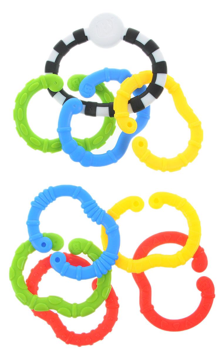 B kids Игрушка-подвеска Веселые колечки Малый набор004884BИгрушка-подвеска B kids Веселые колечки - это набор колец с разными цветами и текстурами, который служит одновременно для развития логических способностей малыша, стимуляции тактильных ощущений, облегчения зуда во время прорезывания зубов, а также для подвешивания других игрушек! В этом по-настоящему многофункциональном наборе содержатся 9 колец: одно - монохромное, цельное и 8 - различной формы и цвета, с разнообразными рельефными покрытиями и обязательным отверстием, служащим для сцепления колечек между собой. Рассматривайте, ощупывайте, кусайте, соединяйте колечки, а также подвешивайте на них уже имеющиеся у вас игрушки: можно закрепить цепь на детской кроватке, коляске, автокресле. Игрушка подходит для детей с рождения. Не содержит бисфенол А.