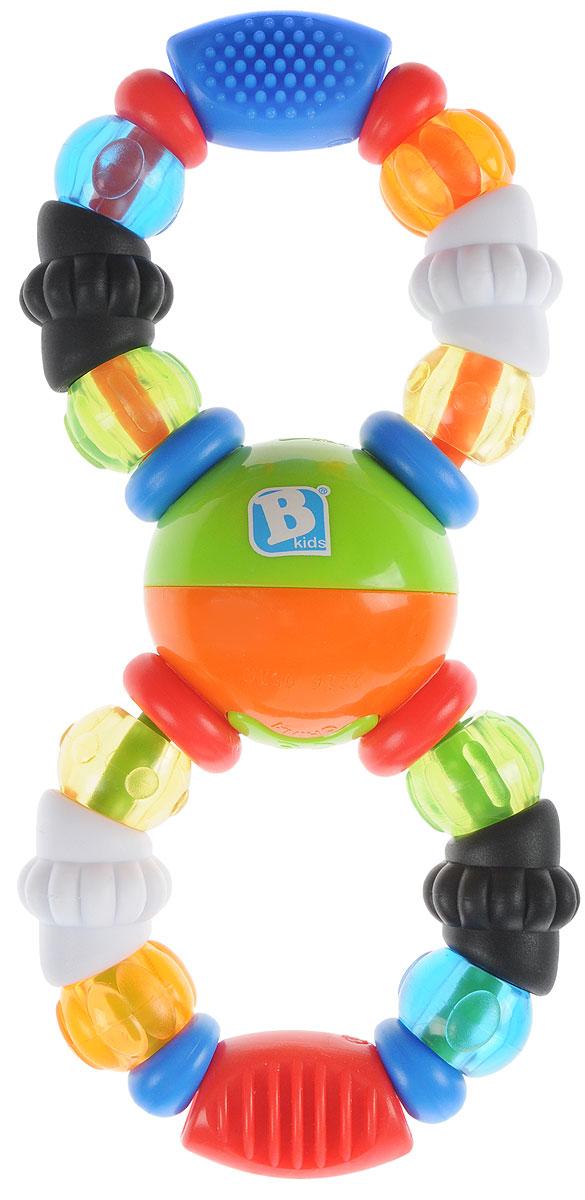 B kids Развивающая игрушка-трещотка Колечки004815Развивающая игрушка-трещотка B kids Колечки - это красивая игрушка с трещоткой и прорезывателем. Игрушка имеет 22 бусины разных цветов и размеров, различной текстуры и твердости. Бусины можно перебирать руками, стимулируя тактильные ощущения, а можно грызть и кусать, снимая тем самым зуд при прорезывании зубов. Шарик в центре игрушки проворачивается и издает при этом щелкающие звуки. Для детей от 0 месяцев.